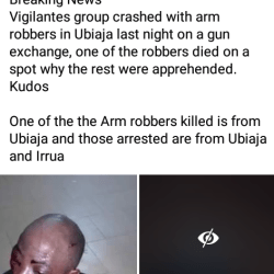 Armed criminal disguised in a wig gunned down while exchanging gun fire with security operatives in Edo (graphic photos)