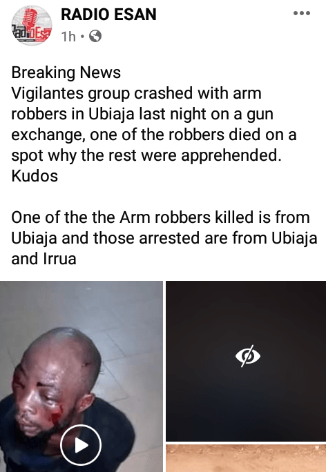 Armed robber wearing a wig gunned down during shootout with security operatives in Edo (graphic photos)