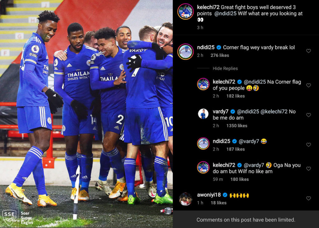 ?No be me do am? - England striker, Jamie Vardy hilariously replies Ndidi and Iheanacho in pidgin English on social media after breaking corner flag