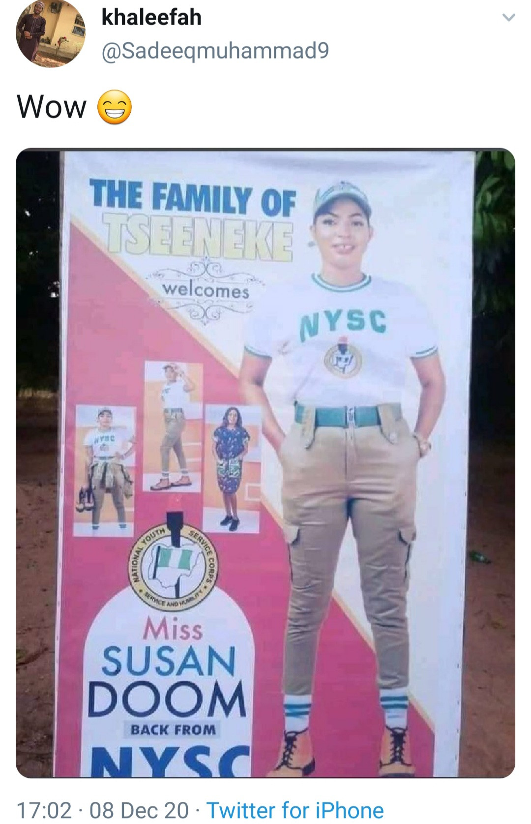 Nigerians react as family prints banner to welcome daughter from NYSC