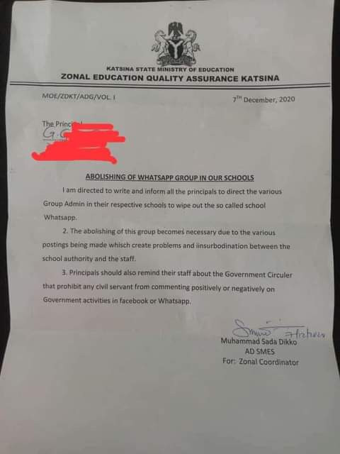 """Katsina abolishes WhatsApp groups in schools; prohibits staff from commenting """"negatively or positively on government activities"""" on Facebook"""
