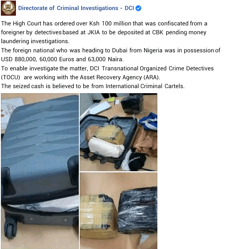 Money Laundering: Dubai-bound Nigerian man arrested with N454million cash at Jomo Kenyatta International Airport