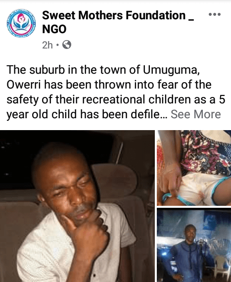 Pastor allegedly defiles 5-year-old girl in Imo state few days to his wedding