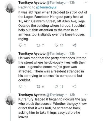 Journalist accuses singer Seun Kuti of pulling out a gun during an argument over parking space; He reacts