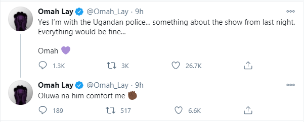 Singer Omah Lay confirms being arrested by Ugandan Police