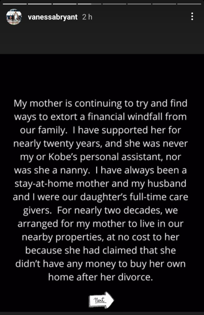 Vanessa Bryant fires back at her mother after the older woman filed a $5m lawsuit against her