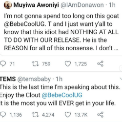 Singer Tems has told Ugandan singer Bebecool to quit Nigeria for the rest of his life.