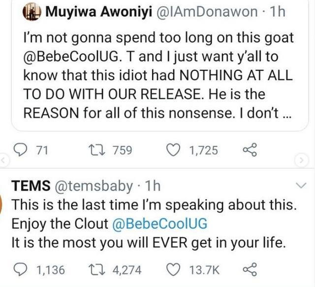 Singer Tems tells Ugandan singer Bebecool to avoid Nigeria for the rest of his life