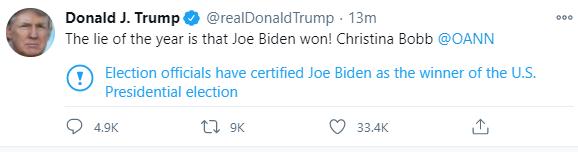 """""""Le mensonge de l'année est que Joe Biden a gagné!""""  Donald Trump tweets"""