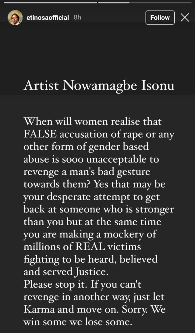 """""""Rape is not a joke"""" Etinosa calls out singer Queency Benna for claiming she was raped by Alaska Obi because he didn"""