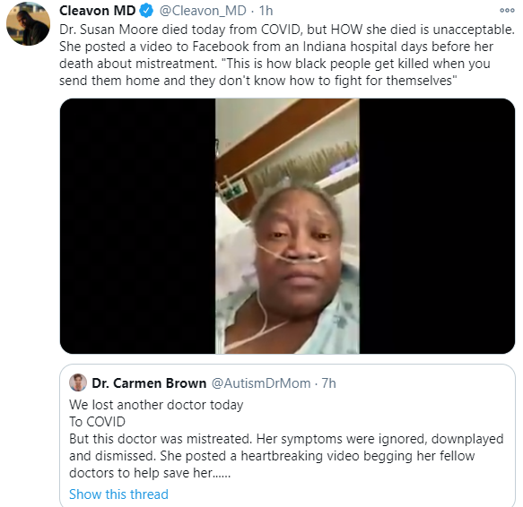 Doctor dies of Covid-19 days after releasing video to claim she was being mistreated by medics because of the colour of her skin