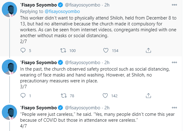 Pastors and church workers who attended Shiloh 2020 allegedly down with COVID19