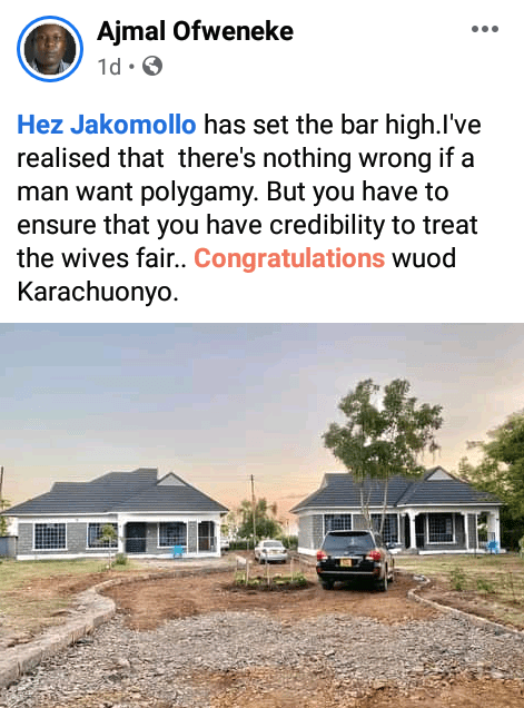 """""""Polygamy is good when you can treat them fair and equal"""" - Kenyans react as man builds identical houses in same compound for his two wives"""