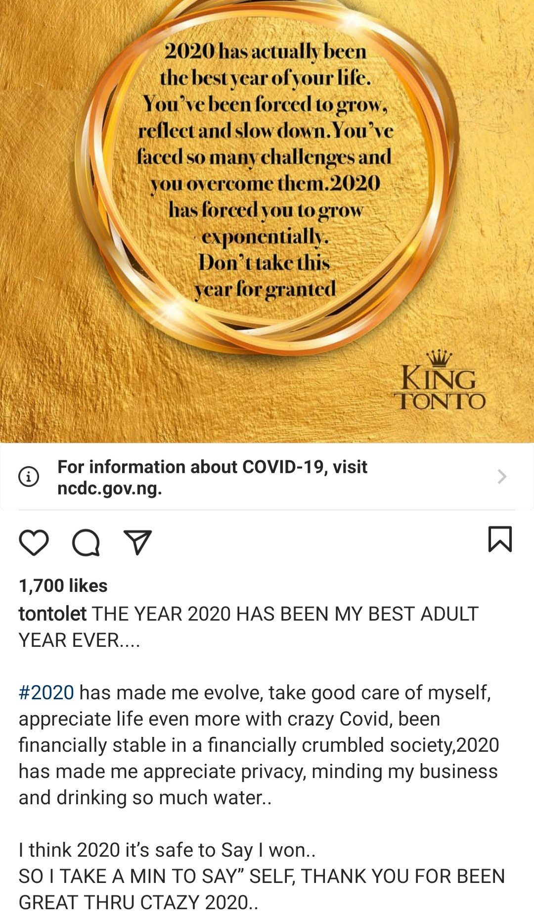 """2020 has been my best adult year"" Tonto Dikeh writes and explains why"