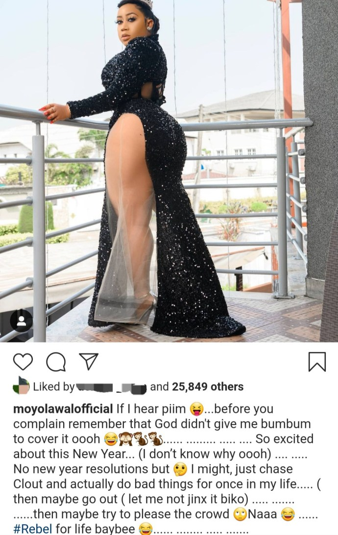 """5ff05508c2cd1 """"God didn't give me bum to cover it"""" Moyo Lawal says as she shows off her thigh and bum"""