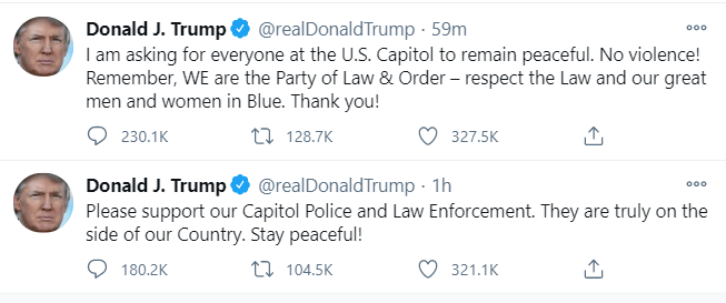 President Trump urges protestors to stand down and remain peaceful?amid ongoing riots in the capitol building (video)