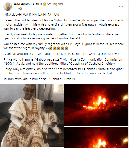 Nigerian man, wife and four children burnt to death in a fatal accident (photos)