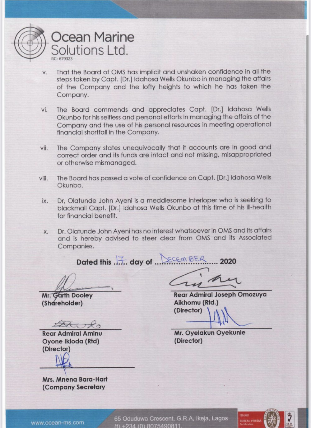 Tunde Ayeni is No Longer a Shareholder or Director at OMS??Management