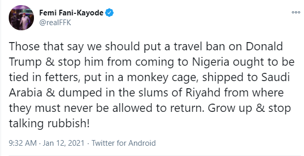 Grow up and stop talking rubbish - FFK slams MURIC for asking President Buhari to place a travel ban on Donald Trump
