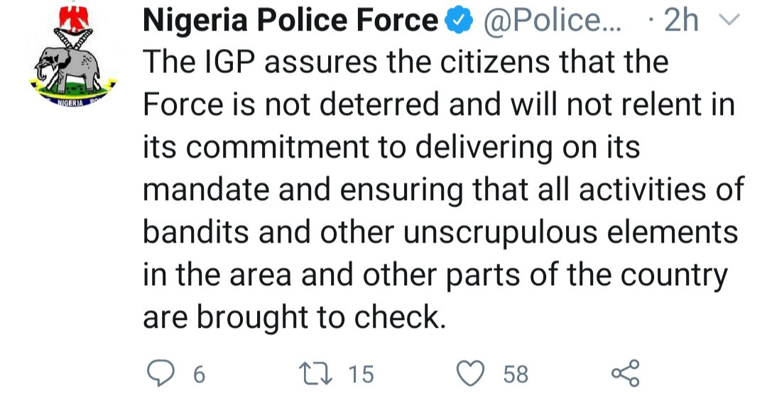 Four?police officers were killed in battle with bandits in Kaduna state, one is missing ? Nigeria Police Force