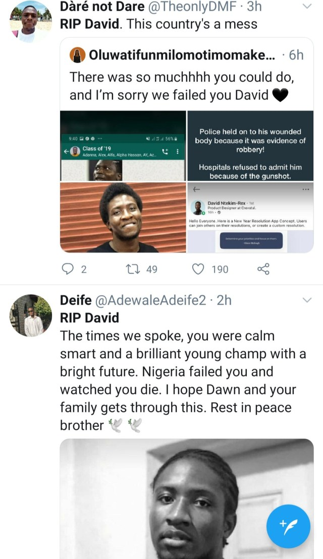 """Nigerian police stood and watched as he gasped for air"" Heartbroken Nigerians claim as they mourn young techpreneur David Ntekim-Rex gunned down by robbers"