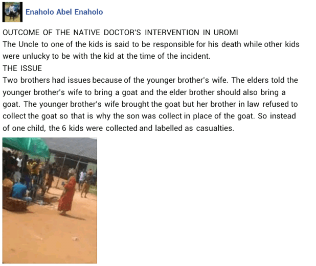 Native doctor claims a family member is responsible for the death of six children crushed by learner driver in Edo