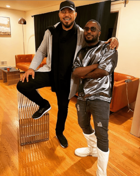 Ramsey Nouah runs into Tunde Ednut in the US (photo)