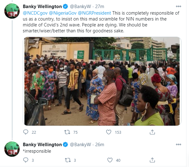 In the middle of the pandemic, Nigerian Government has its citizens queuing up to get their NIN numbers - Banky W