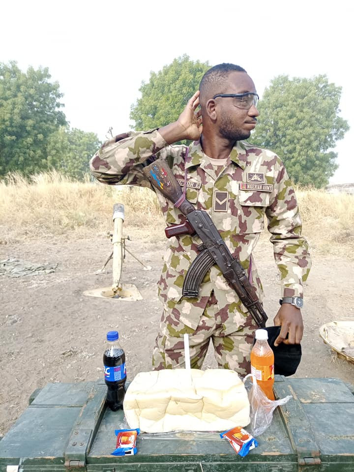 See how a soldier serving in Borno state celebrated his birthday (photos)