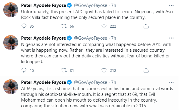 """At 69 years, it is a shame that he?vomits evil words through his septic-tank-like-mouth"" - Fayose slams Lai Mohammed for saying security is better than it was in 2015"