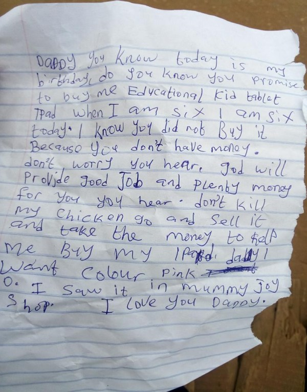 Nigerian man shares touching note his 6-year-old daughter left for him before leaving for school