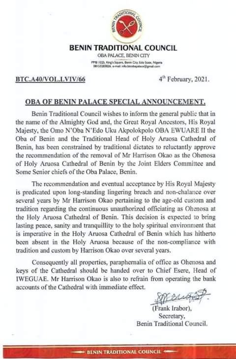 Oba of Benin sacks priest of Holy Aruosa Church for non-compliance with age-old customs and tradition