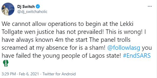 'We cant allow operations to begin at the Lekki Tollgate''- DJ Switch 2