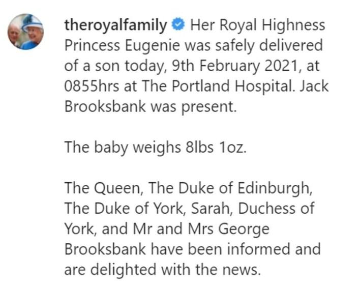 Princess Eugenie welcomes baby boy with husband Jack Brooksbank