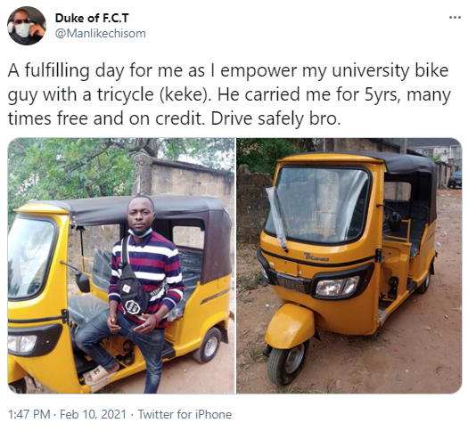 Man gifts new keke to a bike rider who sometimes carried him on credit when he was a University student (photos)