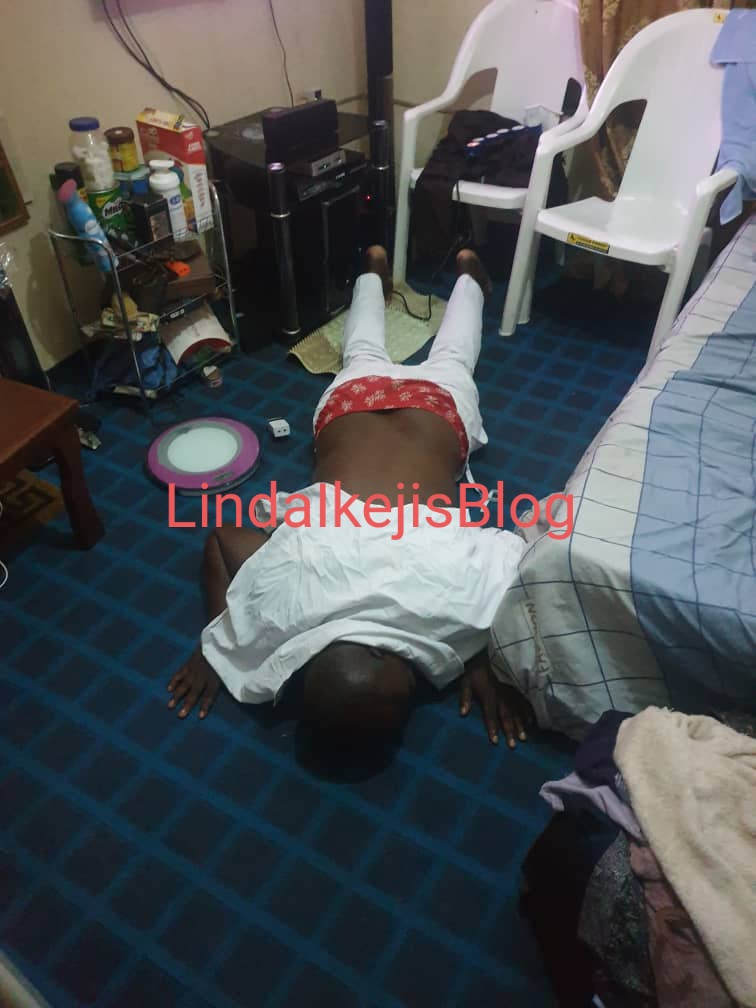 Isreal Afeare pictured prostrating and kneeling to beg DJ Cuppy after alleging she didn