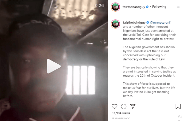 Nigerian government has shown by this senseless act that it is not concerned with upholding our democracy - Falz react to arrest of Mr Macaroni and others