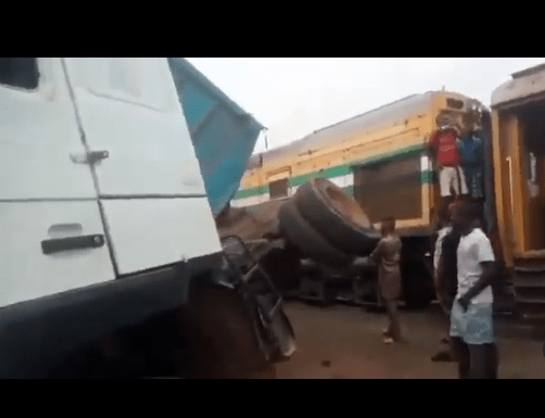 Train rams into a loaded trailer at Fagba, Lagos (video)