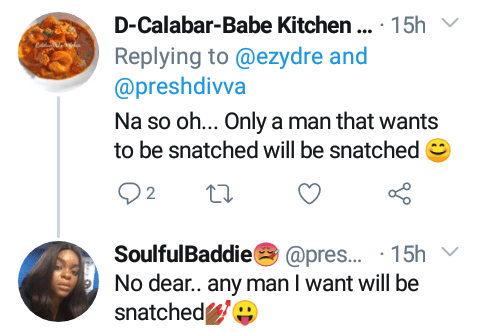 """""""Any man I want will be snatched"""" - Nigerian lady says she is proud to have snatched her man from another woman"""