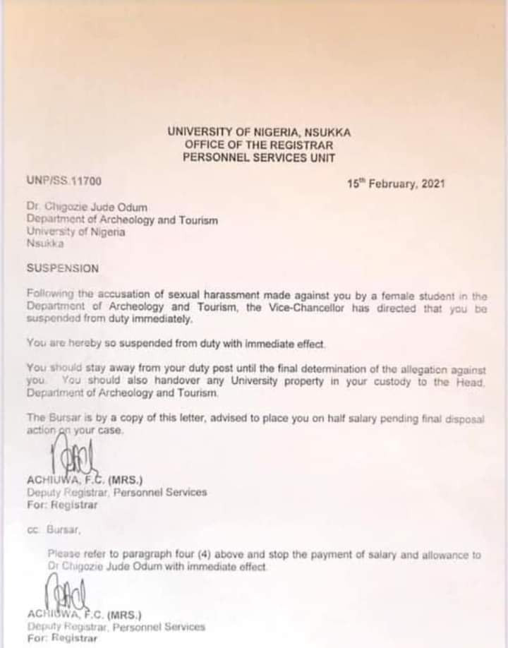 UNN suspends lecturer accused of impregnating and threatening student