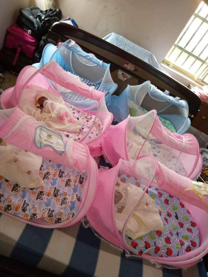 Nigerian woman who was childless for 28 years of marriage gives birth to sextuplets six years after she welcomed a set of twins