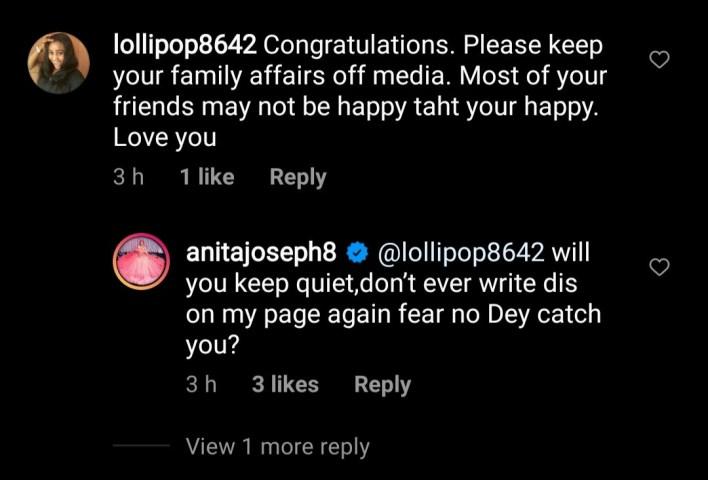Actress, Anita Joseph clashes with followers who advised her to keep her marriage off social media