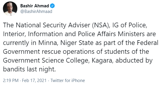 National Security Adviser, IGP, Minister of Police, others arrive Niger state for rescue operation of abducted students