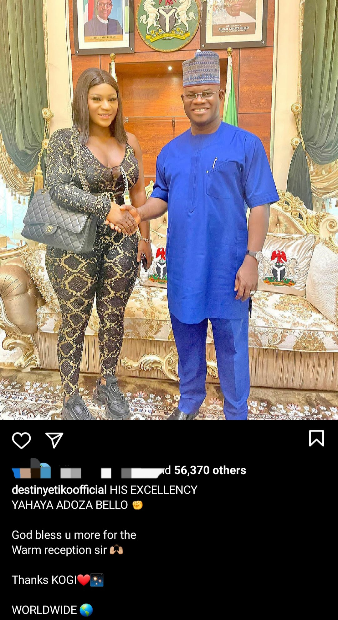 Destiny Etiko slammed for outfit she wore to visit Governor Yahaya Bello