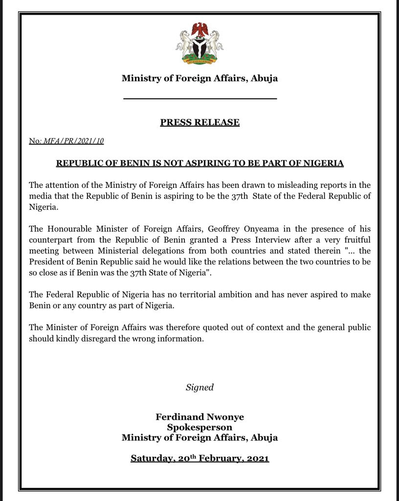 Republic of Benin is not aspiring to be a state in Nigeria-FG