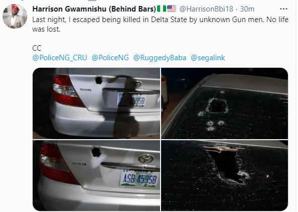 Activist, Harrison Gwamnishu, survives assassination attempt in Delta (photos)