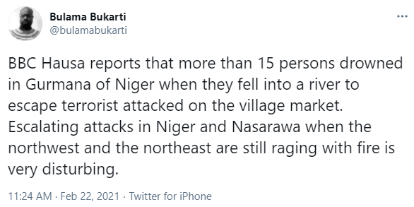 15 persons reportedly drown while running from a terrorist attack in Niger state