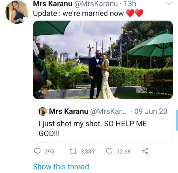 Woman who shot her shot at man last June marries him only months after