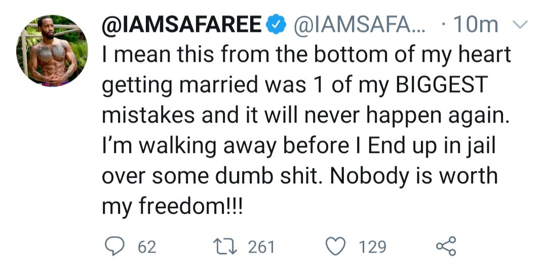 """""""Getting married is one of my biggest mistakes""""- Safaree says one day after sharing loved up video with wife Erica Mena"""
