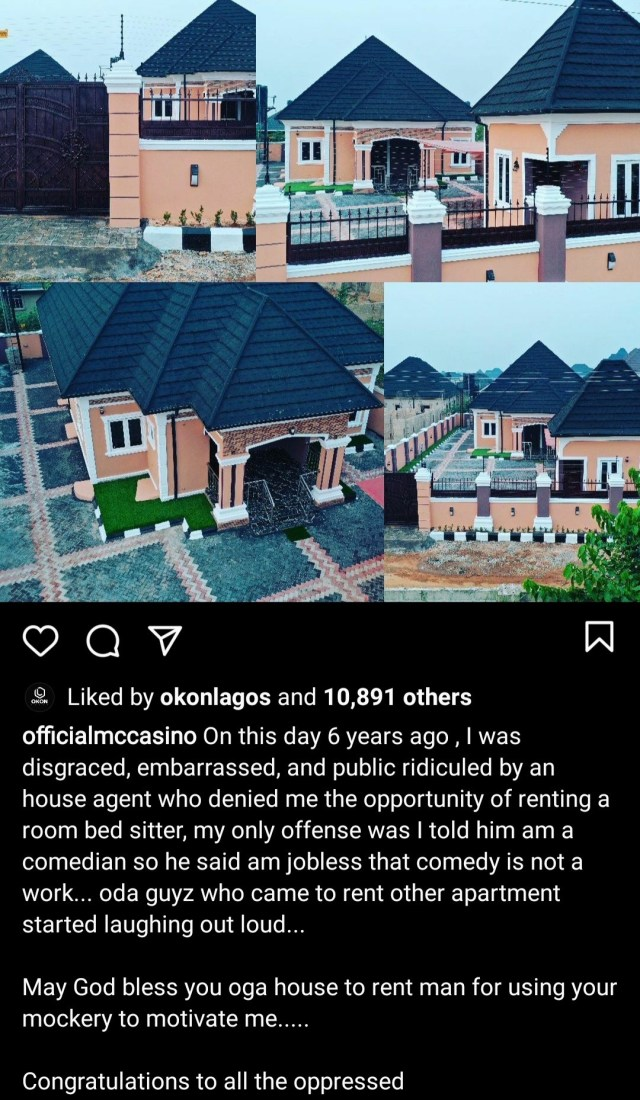 Comedian MC Casino builds his own house 6 years after being mocked by an estate agent when he tried to rent a one-room apartment